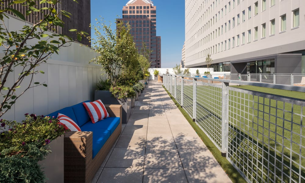 Sitting area by the dog park at Tower280 in Rochester, NY
