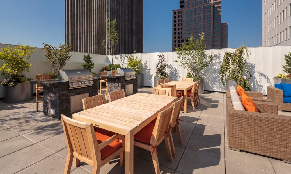 Rooftop grilling areas at Tower280 in Rochester, NY