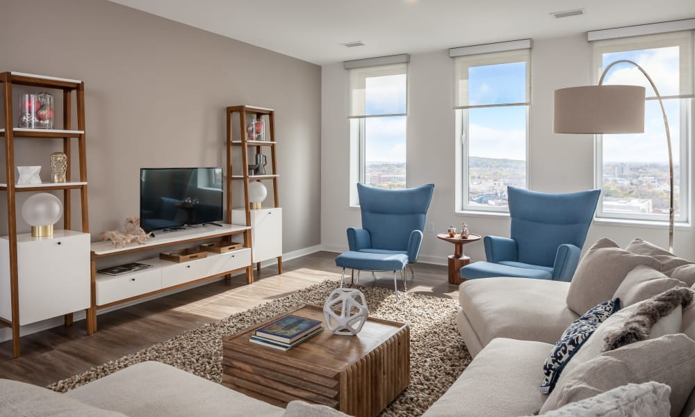 Bright living room at Tower280 in Rochester, NY
