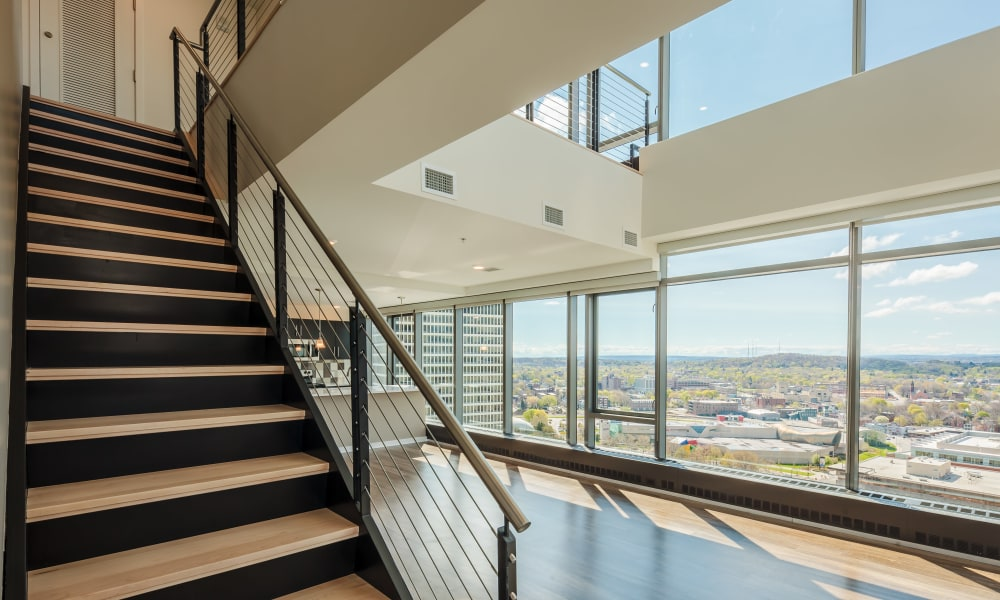 Stairs in the penthouse at Tower280 in Rochester, NY
