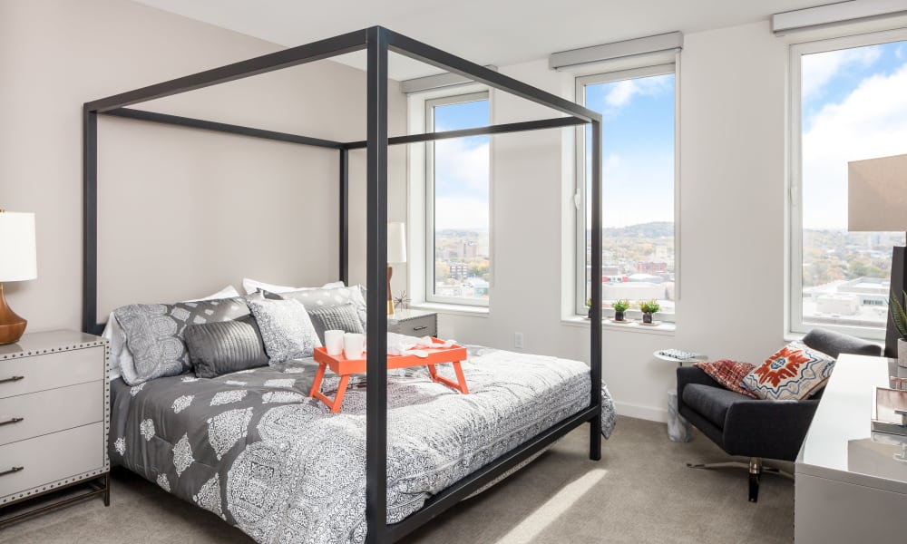 Spacious bedroom at Tower280 in Rochester, NY