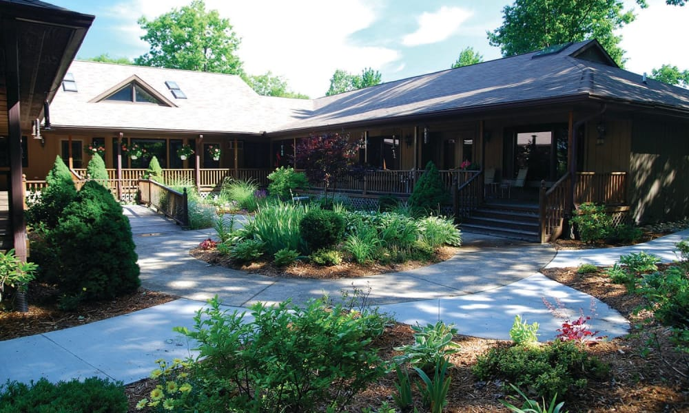Community courtyard with a circular walking path at Lakeshore Woods in Fort Gratiot, Michigan