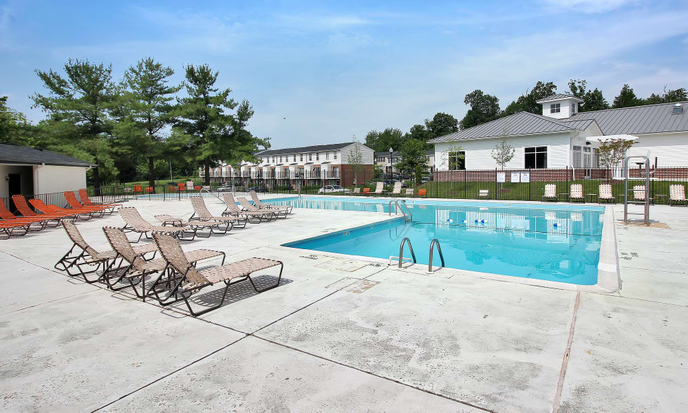 Pool area at The Townhomes at Diamond Ridge in Baltimore, MD