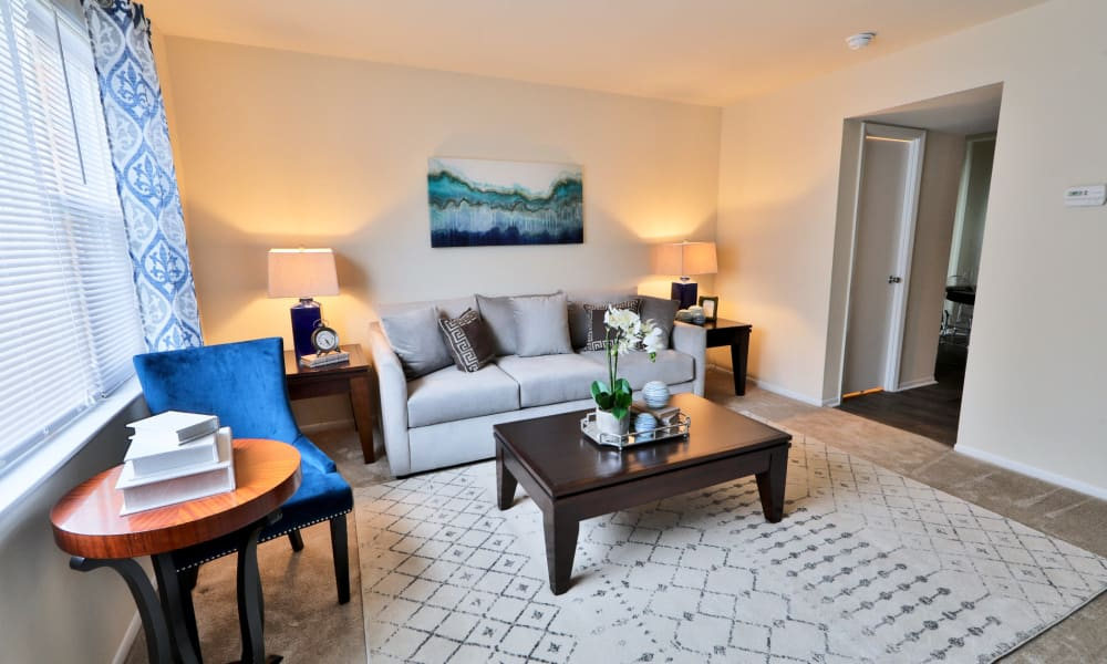 Living room at The Townhomes at Diamond Ridge in Baltimore, MD