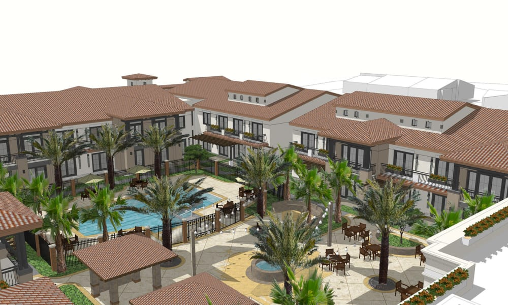 Rendering of courtyard at Merrill Gardens at Rancho Cucamonga in Rancho Cucamonga, CA