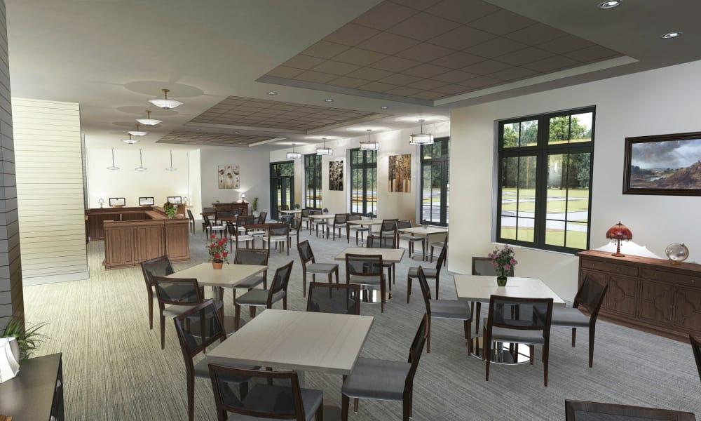Merrill Gardens at Carolina Park dining area in Mount Pleasant, SC