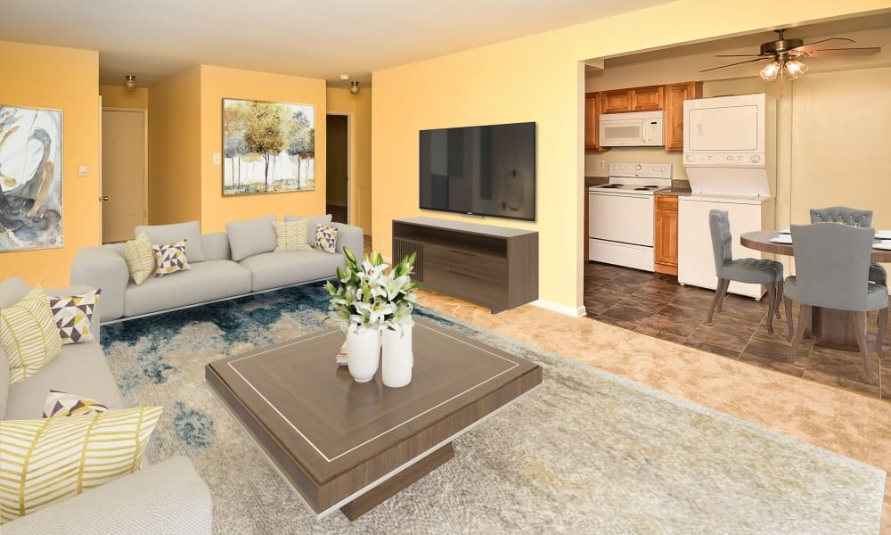 Spacious Living Room at Warwick Terrace Apartment Homes in Somerdale, New Jersey
