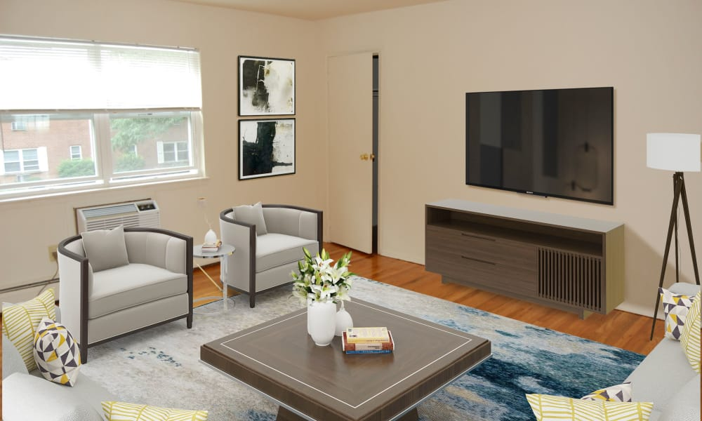 Living Room at Village Green Apartment Homes in South River, NJ