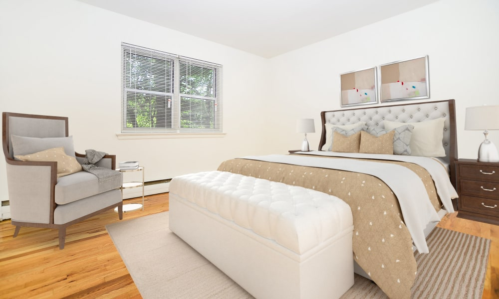 Modern bedroom at Westview Apartment Homes in Westwood, New Jersey