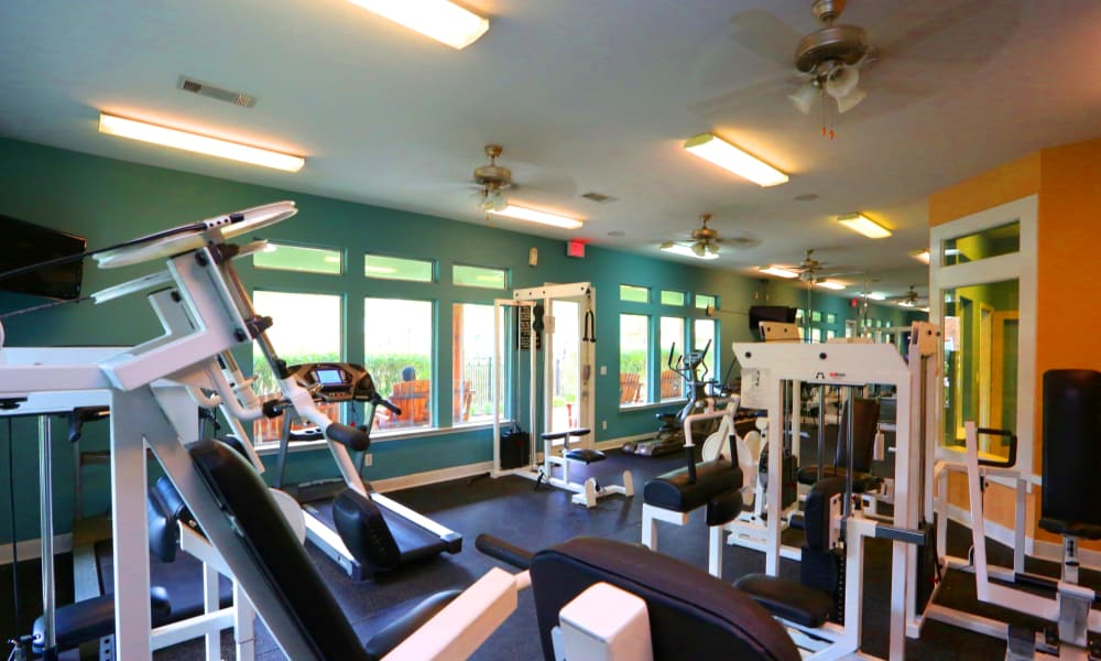 Cornerstone Ranch Apartments offers a fitness center in Katy, Texas