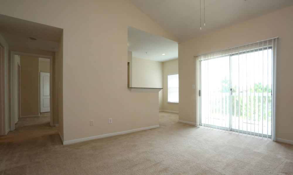 Empty living room at Cornerstone Ranch Apartments in Katy, Texas