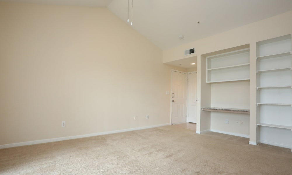 Spacious empty living room at Cornerstone Ranch Apartments in Katy, Texas