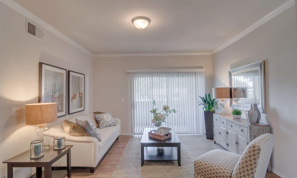Cozy living room at Thornbury Apartments in Houston, Texas