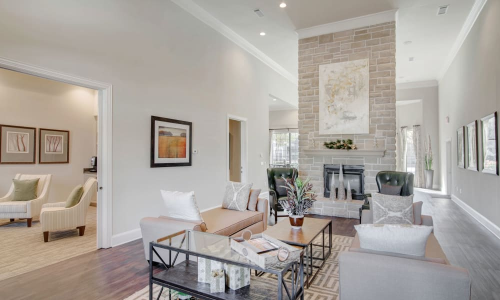 Clubhouse living room at Thornbury Apartments in Houston, Texas