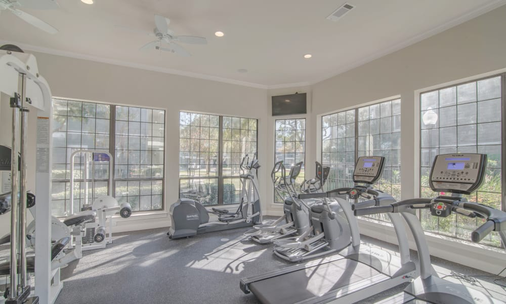 Thornbury Apartments offers a fitness center in Houston, Texas