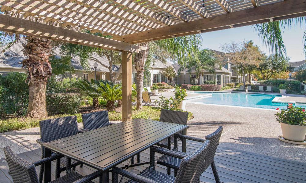 Barbecue gazebo near the pool at Thornbury Apartments in Houston, Texas