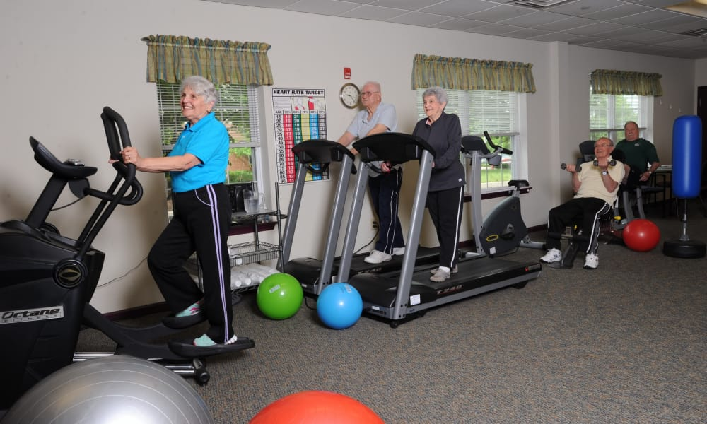 Fitness center at senior living facility in Harleysville, Pennsylvania