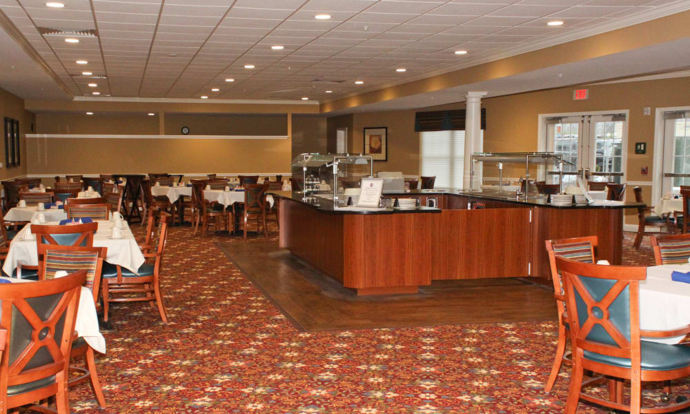 Senior living facility with a multipurpose dining area