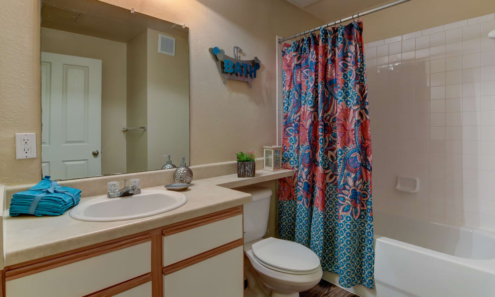 Bathroom at Hillstone Ranch Apartments in San Antonio, Texas
