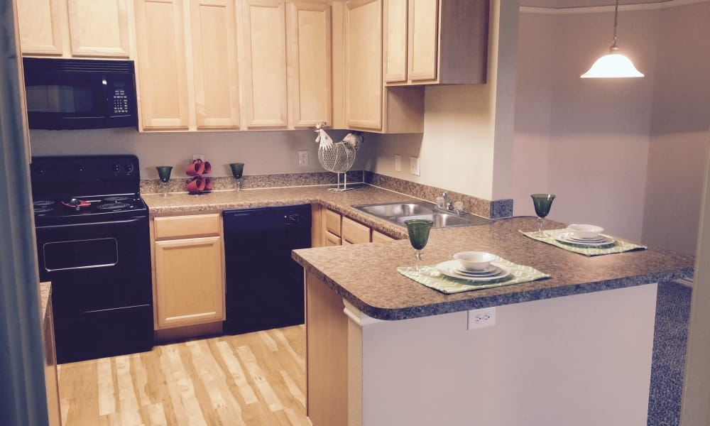 Hillstone Ranch Apartments offers a fully equipped kitchen in San Antonio, Texas