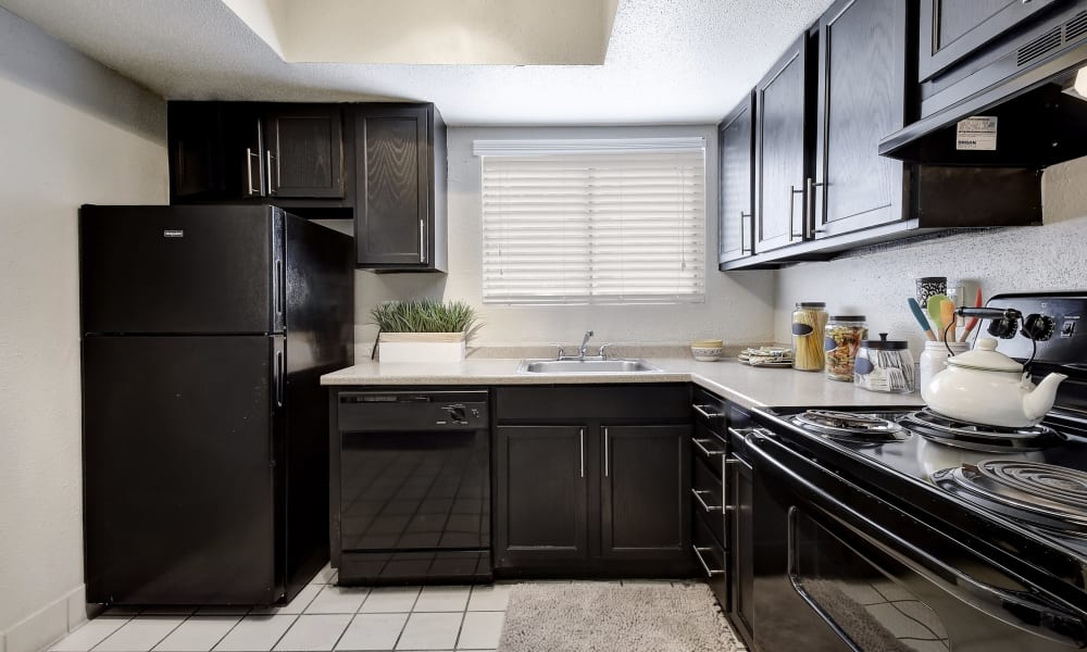 Fully equipped kitchen at Oasis at Oakwell in San Antonio, Texas