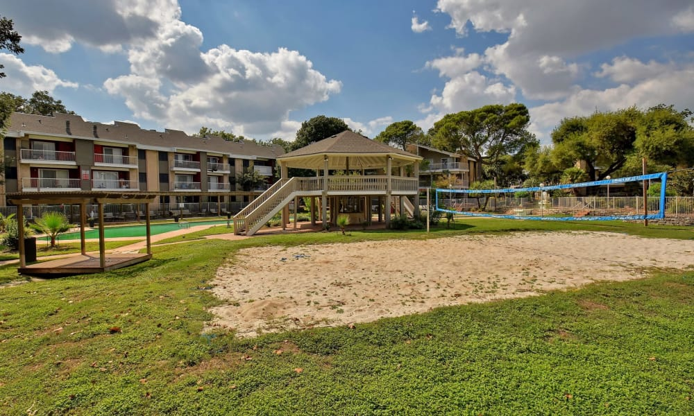 Sand volleyball court at Oasis at Oakwell in San Antonio, Texas
