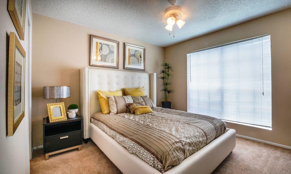 Naturally well-lit bedroom at Sedona Canyon in San Antonio, Texas
