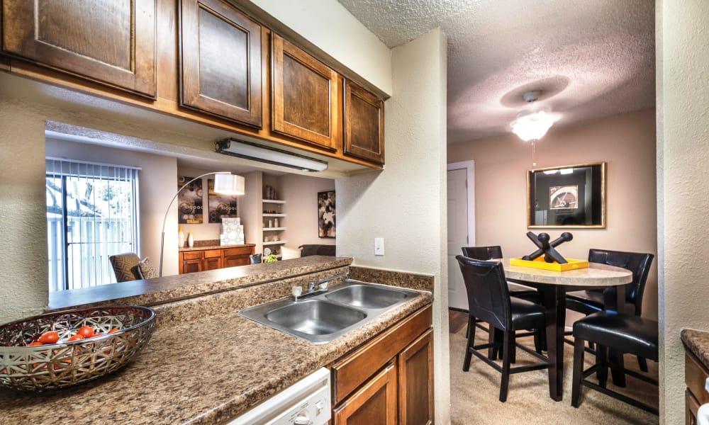 Kitchen with granite countertop at Sedona Canyon in San Antonio, Texas