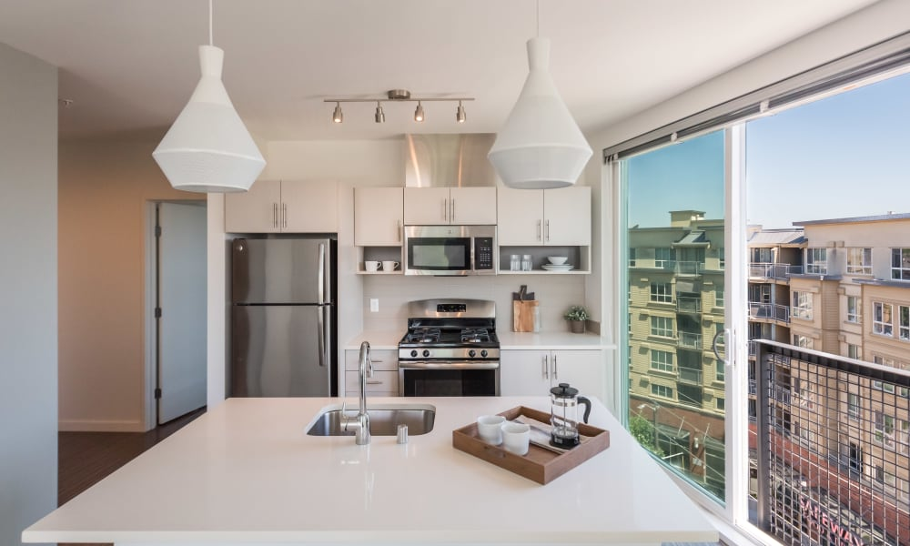 Large kitchen island at Session Apartments in Seattle