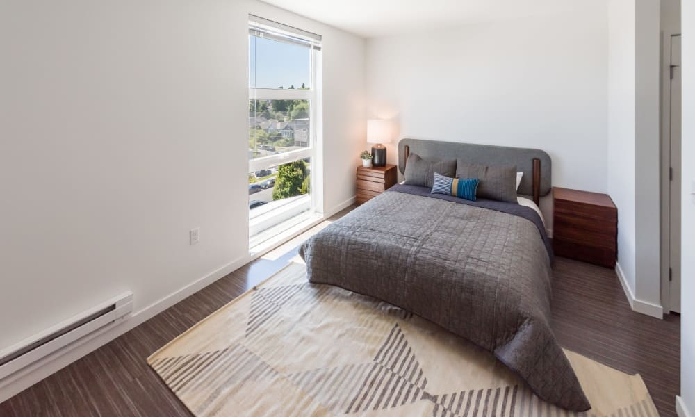 Beautiful master bedroom window at Session Apartments in Seattle