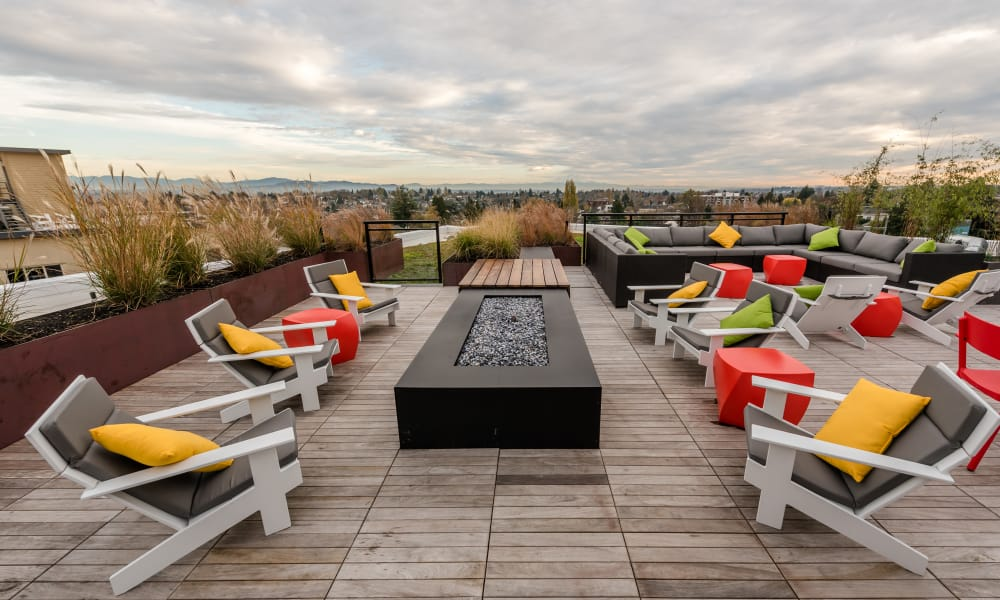 Roof top fire pit at Session Apartments in Seattle