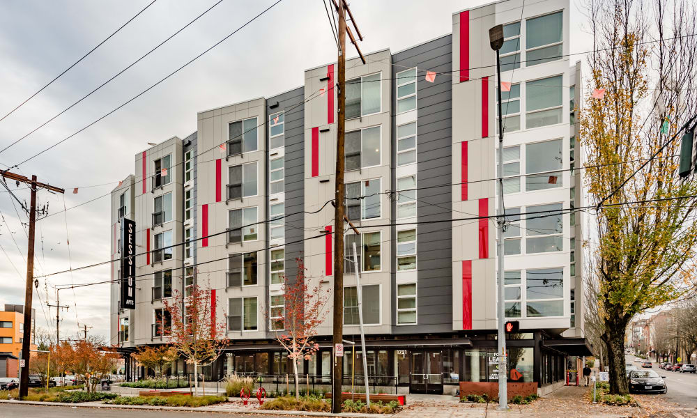 Exterior shot of Session Apartments in Seattle