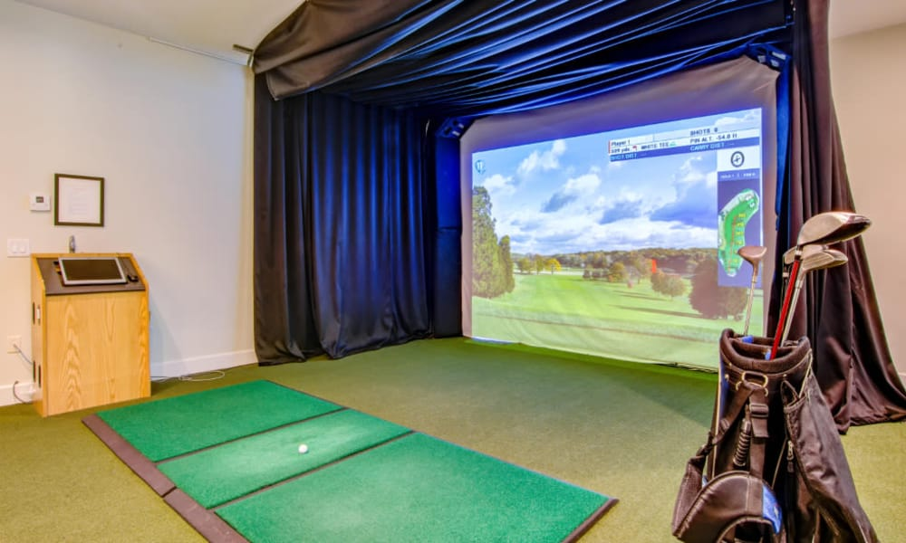 Golf simulator at The Residences at Vinings Mountain in Atlanta, Georgia