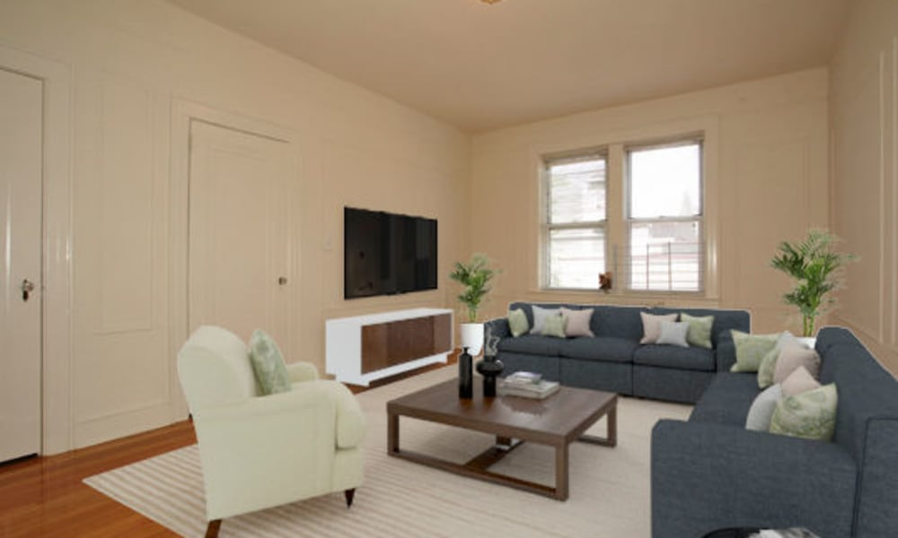 Spacious Living Room at Berkeley Arms Apartment Homes in Rutherford, New Jersey