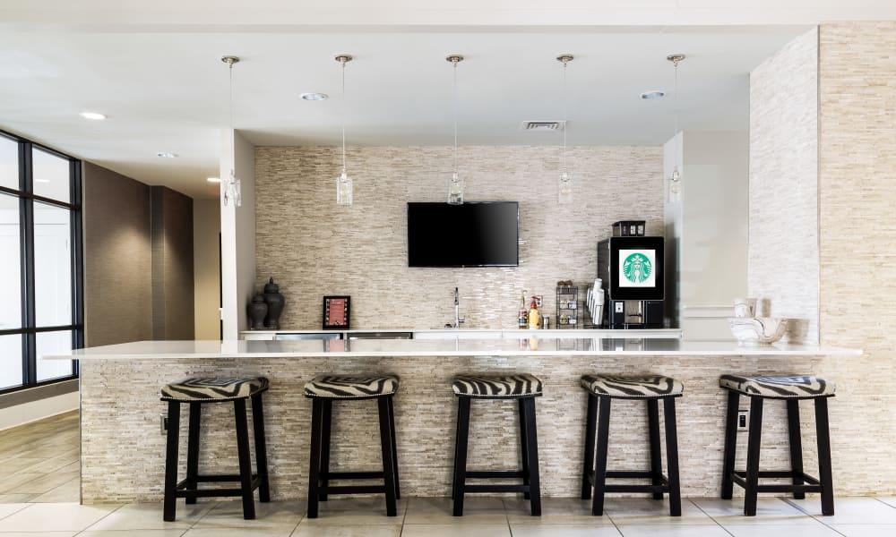 Wonderful bar area at Carraway Village Apartments in Chapel Hill, NC