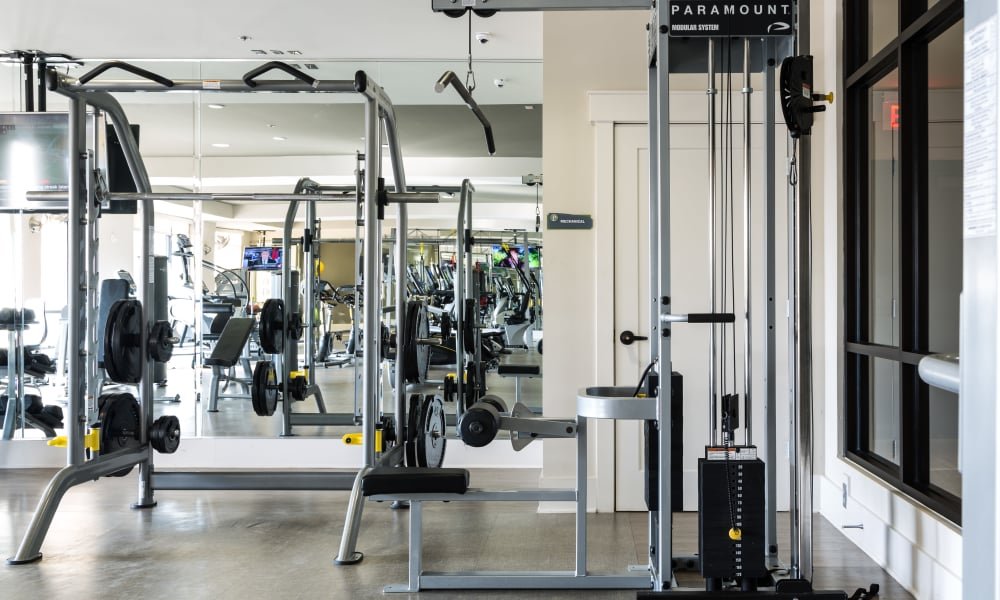 Fitness equipment at Carraway Village Apartments in Chapel Hill, NC