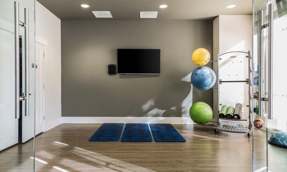 Yoga room at Carraway Village Apartments in Chapel Hill, NC