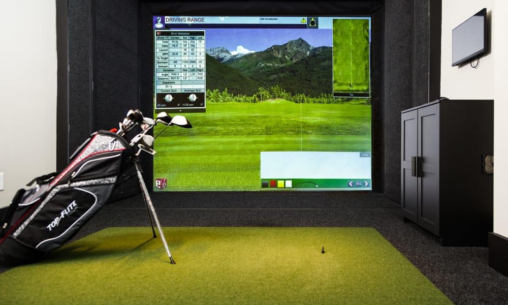 Golf simulator at Carraway Village Apartments in Chapel Hill, NC