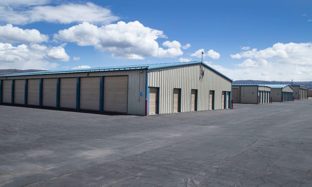 Exterior drive up units at Daniels Road Self Storage in Heber City, Utah