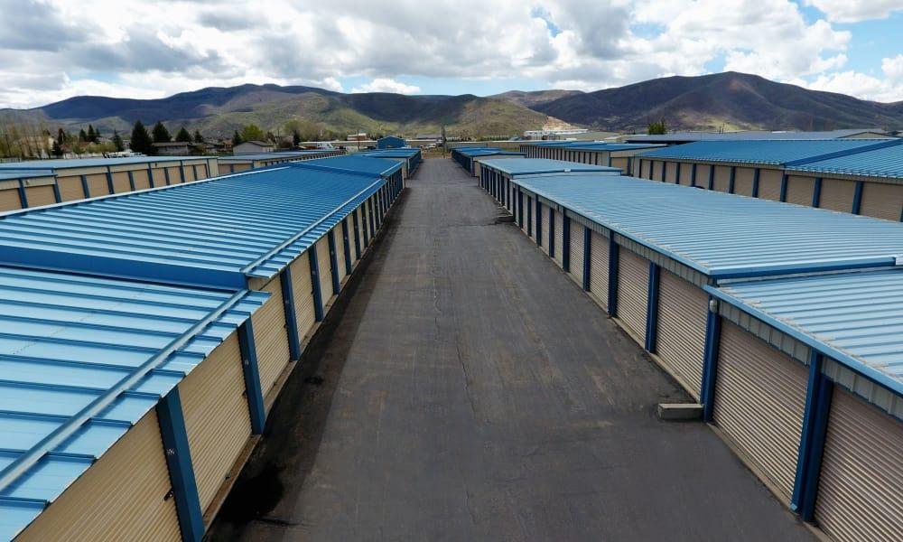 Outdoor self storage units view at Daniels Road Self Storage in Heber City, Utah