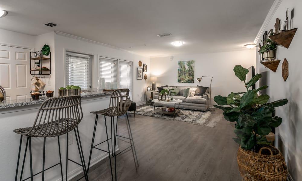 Beautiful living area at Landmark Apartments Tuscaloosa in Tuscaloosa, Alabama