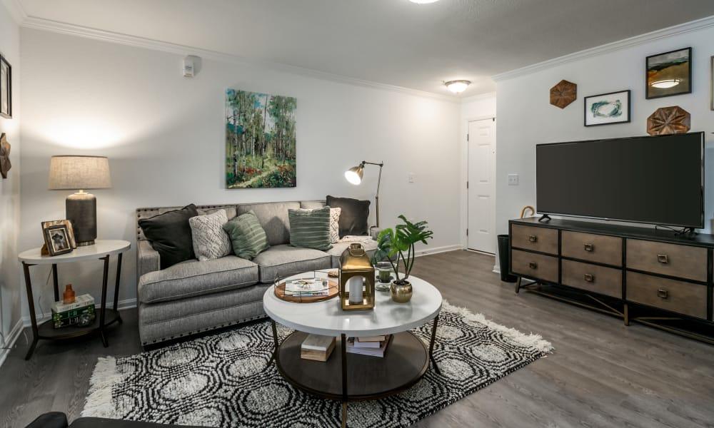 Spacious living room at Landmark Apartments Tuscaloosa in Tuscaloosa, Alabama