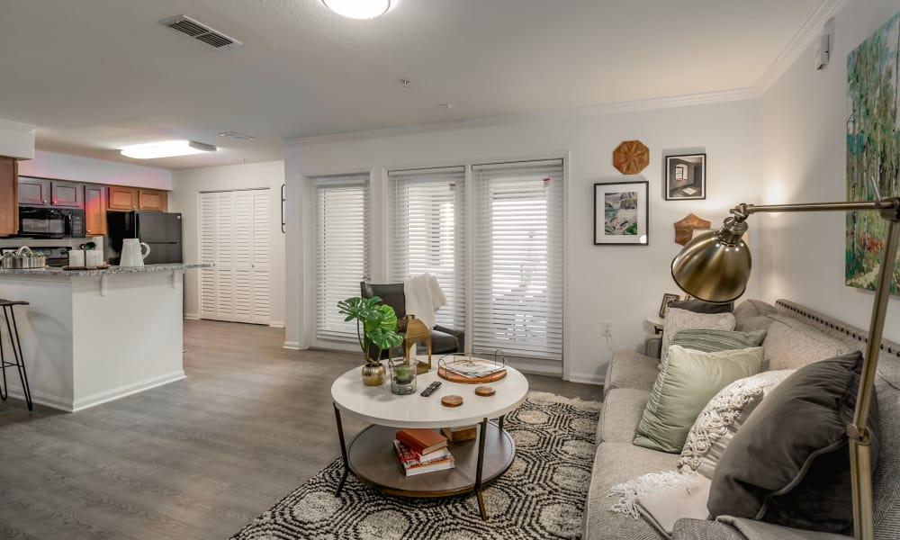 Modern living room at Landmark Apartments Tuscaloosa in Tuscaloosa, Alabama