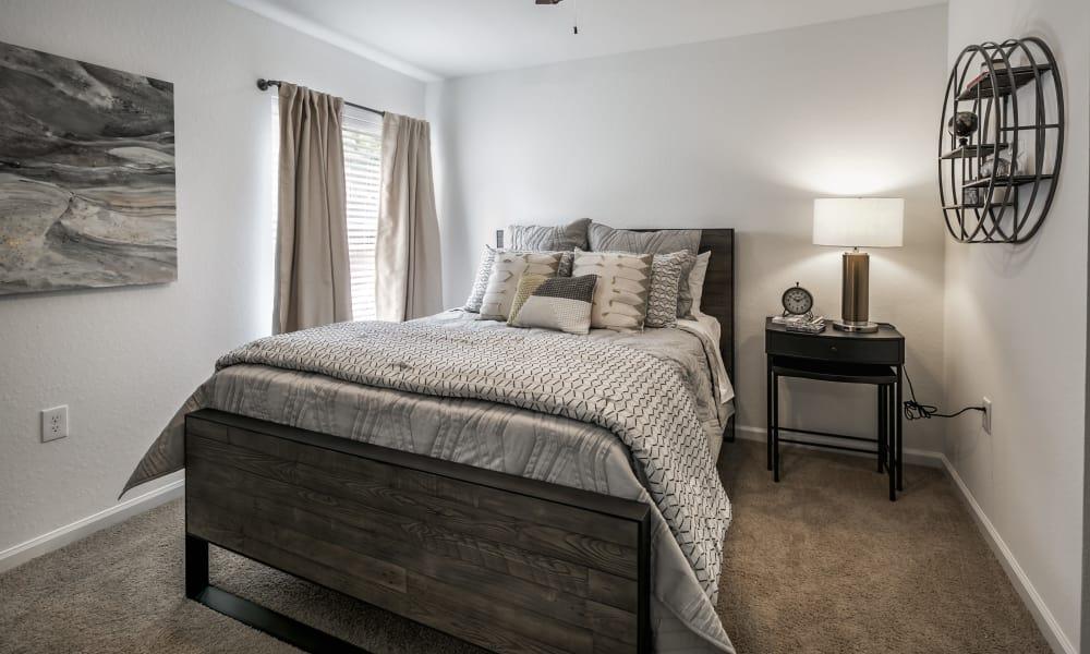 Landmark Apartments Hattiesburg offers a modern bedroom in Hattiesburg, Mississippi
