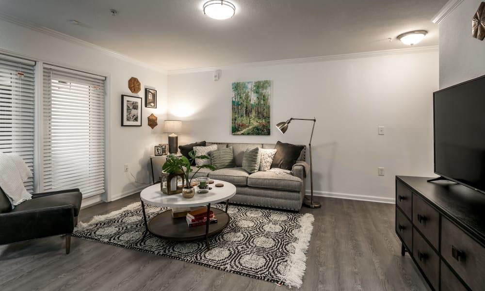 Spacious living room at Landmark Apartments Hattiesburg in Hattiesburg, Mississippi