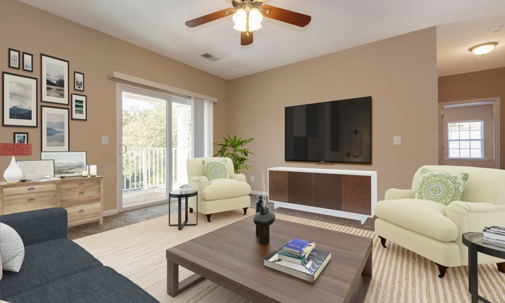 Lovely Living Room at The Waterway Apartment Homes in Lexington, SC