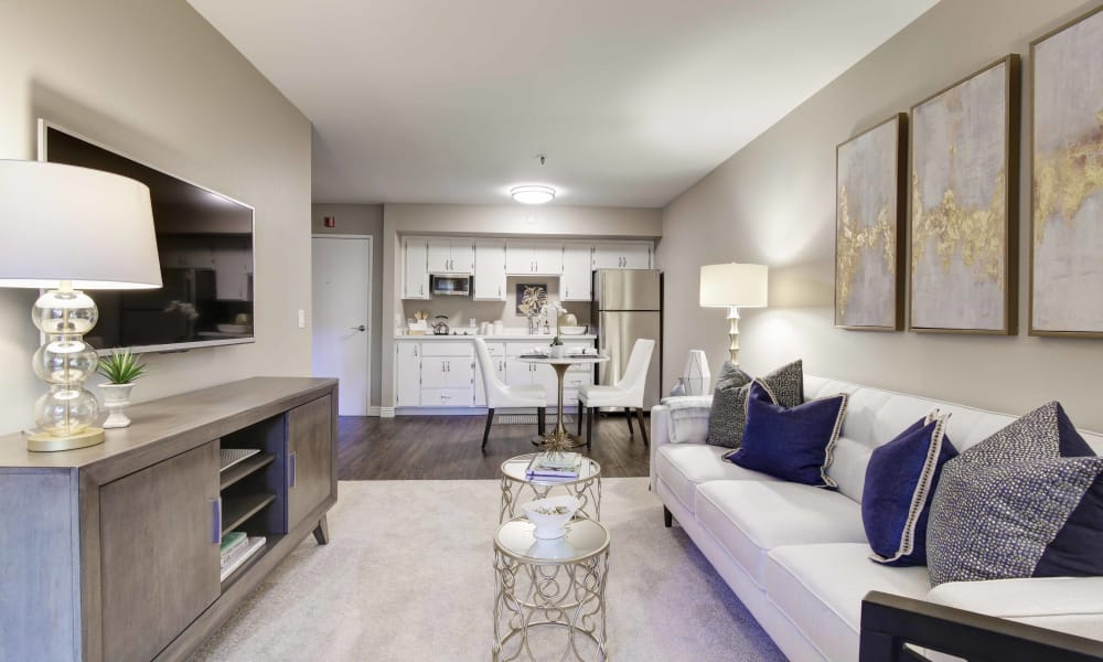 Living room at Fairview Commons in Costa Mesa, California