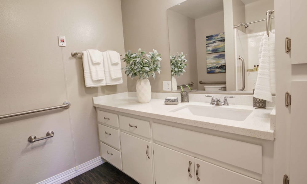 Bathroom at Fairview Commons in Costa Mesa, California