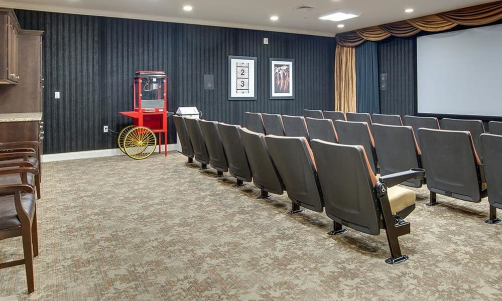 On-campus theater at the Mill Creek Village Senior Living community in Columbia, Missouri