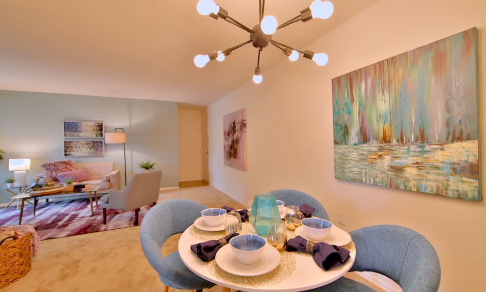 Dining room & living room at Stoneridge at Mark Center Apartment Homes in Alexandria, Virginia